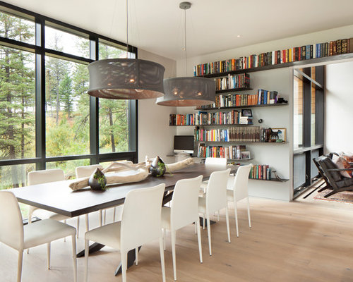 Inspiration For A Contemporary Dining Room Remodel In Other With White  Walls, Medium Tone Wood. Save Photo. Hunter And Company Interior Design