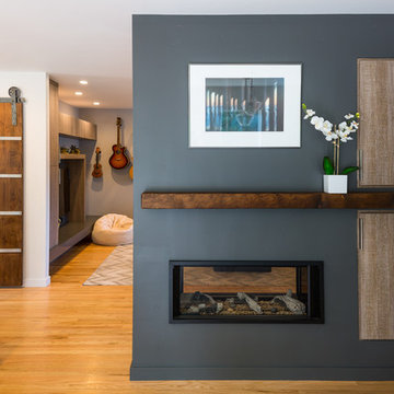 Modern Two Sided Fireplace - An Aptos Modern Ranch Remodel