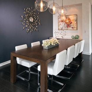 Ispirazione per una sala da pranzo minimal di medie dimensioni con parquet scuro, pareti blu e nessun camino