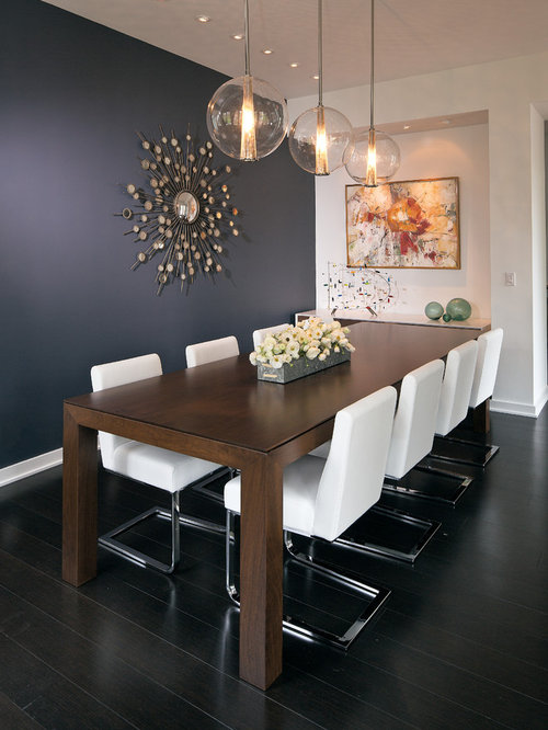 dining room mid sized contemporary dark wood floor dining room idea in indianapolis with - Contemporary Dining Room Furniture