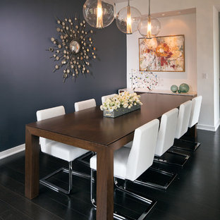 Exempel på en mellanstor modern matplats, med mörkt trägolv och blå väggar