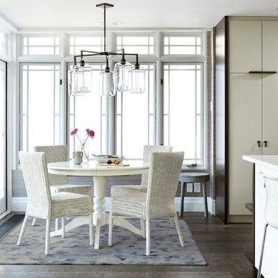 Kitchen/dining room combo - mid-sized transitional dark wood floor and brown floor kitchen/dining room combo idea in Toronto with white walls and no fireplace