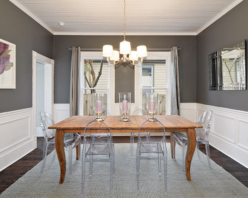 grey brown dining room | houzz