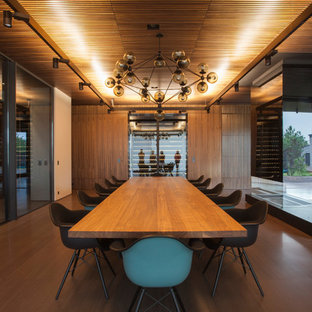 Minimalist Medium Tone Wood Floor And Brown Floor Dining Room Photo In San  Francisco With Brown