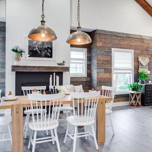 Diseño de comedor clásico renovado, de tamaño medio, abierto, con paredes multicolor, suelo vinílico, chimenea tradicional y marco de chimenea de metal
