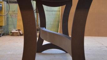 Monkey Pod Single Slab Table Top with Metal Base