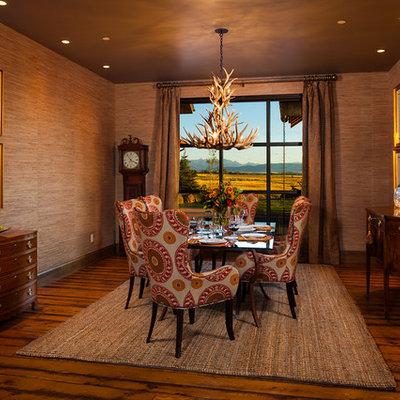 Example of a trendy dark wood floor dining room design in Other