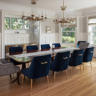 Example Of A Clic Light Wood Floor And Brown Enclosed Dining Room Design In New