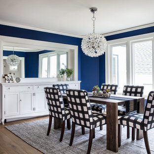 Inspiration for a mid-sized transitional dark wood floor and brown floor enclosed dining room remodel in San Francisco with blue walls