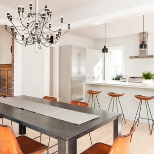 Kitchen/dining room combo - mid-sized modern light wood floor and beige floor kitchen/dining room combo idea in New York with gray walls