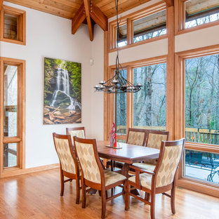 Inspiration For A Rustic Light Wood Floor Dining Room Remodel In Other With White Walls And