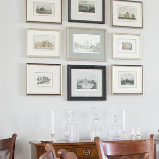 Modelo de comedor clásico, pequeño, cerrado, con paredes grises