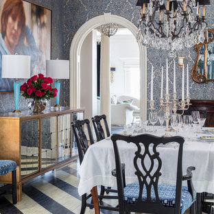 Inspiration for a mid-sized eclectic painted wood floor and black floor dining room remodel in Richmond with blue walls