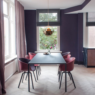 Inspiration for a contemporary dining room in Amsterdam with purple walls, light hardwood flooring, no fireplace and beige floors.