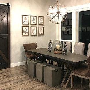 Immagine di una sala da pranzo country di medie dimensioni con pareti grigie, pavimento in gres porcellanato, nessun camino e pavimento grigio