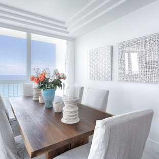 Inspiration For A Beach Style Beige Floor Enclosed Dining Room Remodel In  Miami With White Walls