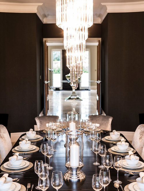 Awesome Inspiration For A Timeless Dining Room Remodel In Surrey With Black Walls Nice Ideas