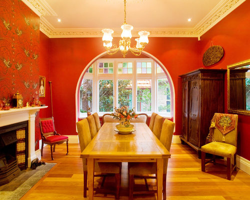 Orange dining room design ideas renovations photos with for Traditional red dining room