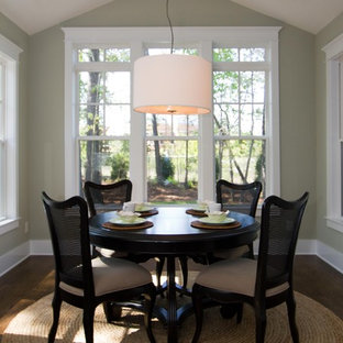 Inspiration for a timeless dark wood floor dining room remodel in Wilmington with green walls