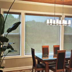 Motorized Cassette Roller Screen Shades - Kathy Ireland Home by Alta Motorized Screen Roller Shades operated by a 5 channel wall mount. Today's Window Fashions