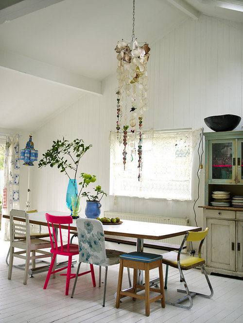Cottage Chic Dining Room Photo In London With White Walls And Painted Wood  Floors