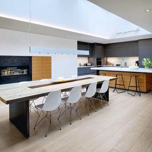 Foto di una sala da pranzo aperta verso la cucina scandinava con pareti bianche, parquet chiaro, camino lineare Ribbon e cornice del camino in metallo