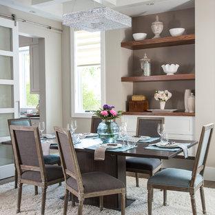 Esempio di una sala da pranzo chic chiusa e di medie dimensioni con pareti beige e pavimento in vinile