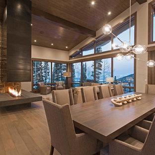 Diseño de comedor contemporáneo, extra grande, abierto, con paredes grises, suelo de madera en tonos medios, chimenea de doble cara y marco de chimenea de metal
