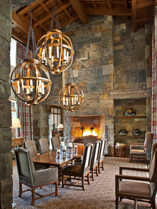 High ceiling lighting home design ideas renovations photos - Rustic dining room lighting ...