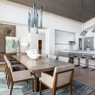 Inspiration for a contemporary medium tone wood floor and brown floor great room remodel in Salt Lake City with white walls