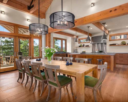 Example Of A Mid Sized Mountain Style Medium Tone Wood Floor And Brown Kitchen