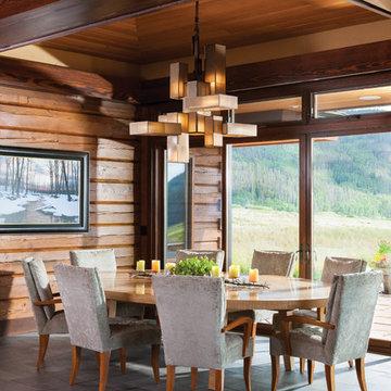 Mountain Modern Log Home: The Hahn's Peak Residence - Dining Room