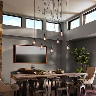 Inspiration for a mid-sized industrial dark wood floor and brown floor enclosed dining room remodel in Houston with gray walls and no fireplace