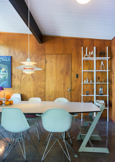 Midcentury Dining Room by Margot Hartford Photography
