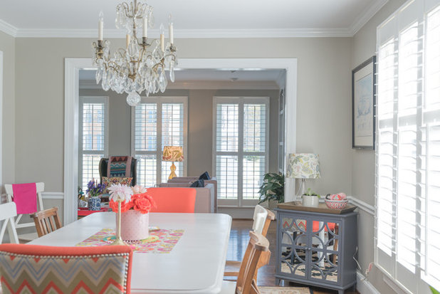 Transitional Dining Room by Hado Photo