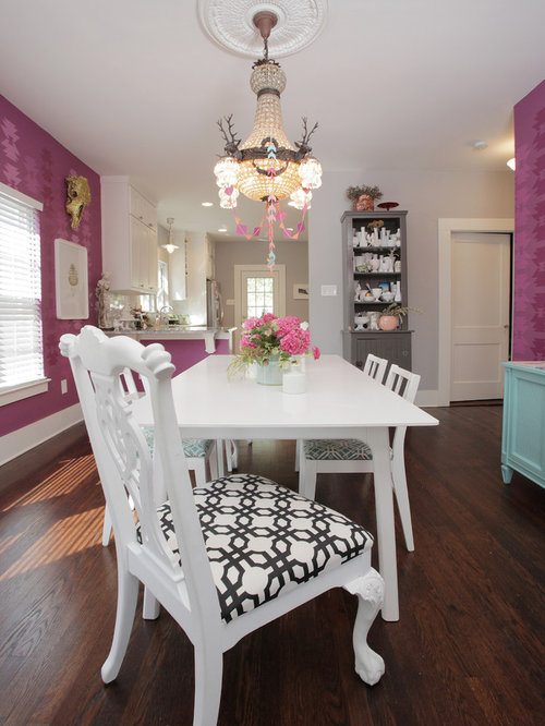 Shabby Chic Style Dark Wood Floor Dining Room Idea In Dallas With Pink Walls