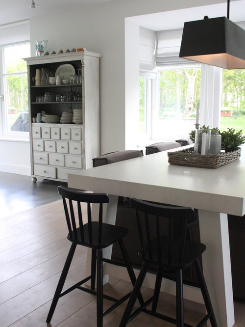 Trendy Light Wood Floor Dining Room Photo In Amsterdam With White Walls