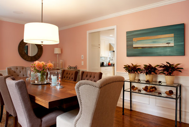 Transitional Dining Room by Mary Prince Photography