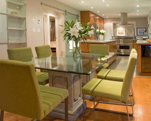 Glass Top Rectangular Dining Table Trendy Medium Tone Wood Floor Kitchen Room Combo Photo In Vancouver With Beige Walls