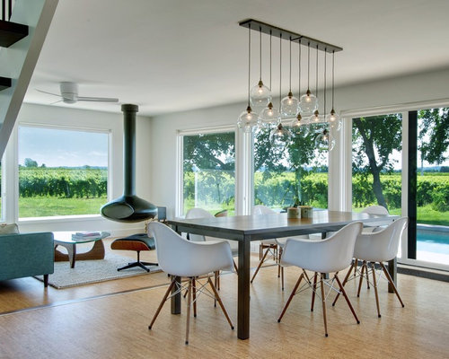 Inspiration For A Contemporary Light Wood Floor Dining Room Remodel In  Toronto