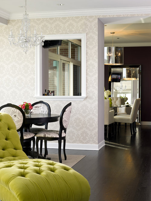 Example Of A Transitional Dark Wood Floor Dining Room Design In Chicago