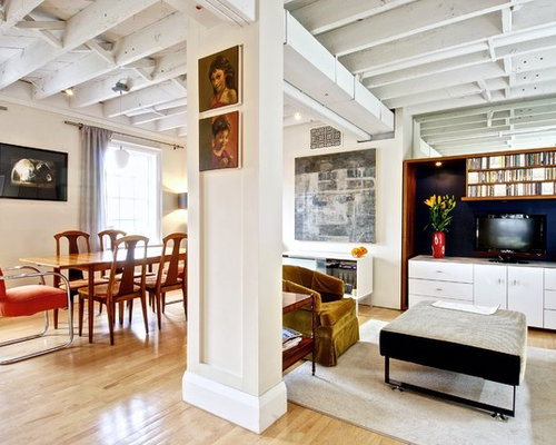 basement wood ceiling ideas. Transitional medium tone wood floor dining room photo in Toronto with white  walls Basement Ceiling Ideas Houzz