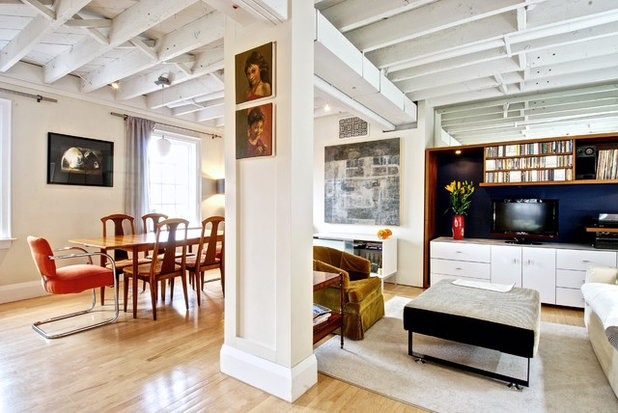 Transitional Dining Room by Andrew Snow Photography