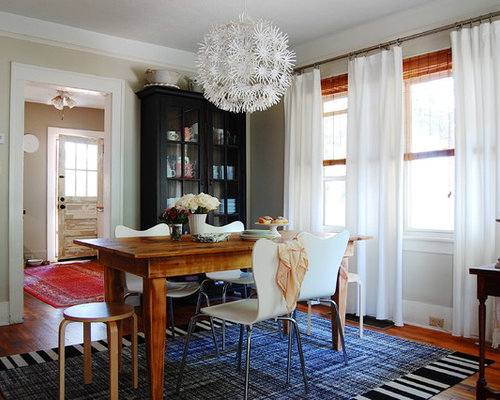 simple dining room. Example of an eclectic dark wood floor dining room design in New York with  beige walls Simple Dining Room Houzz