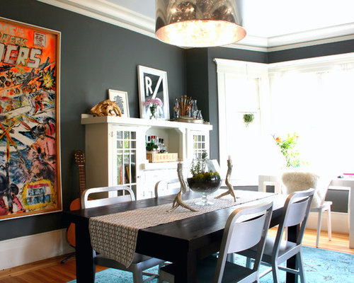 Eclectic Dining Room Idea In San Francisco With Gray Walls