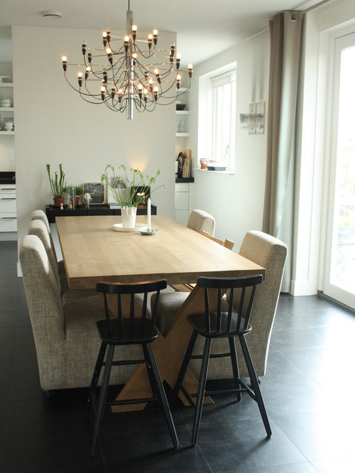 Small Extendable Dining Table Part - 48: Example Of A Trendy Dining Room Design In Amsterdam With White Walls
