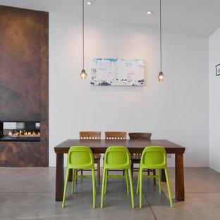 Стильный дизайн: столовая в современном стиле с бетонным полом, фасадом камина из металла и горизонтальным камином - последний тренд