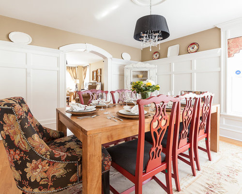 Example Of An Ornate Dining Room Design In Other With Beige Walls And  Medium Tone Hardwood