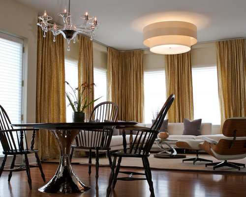 Eclectic Dining Room Idea In Chicago With Beige Walls And Dark Wood Floors