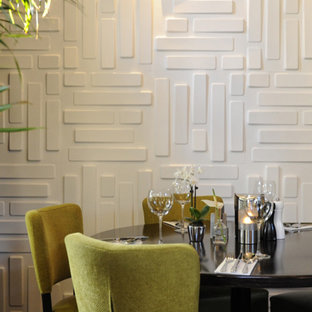 Decorative Wall Panel Example Of A Minimalist Dining Room Design In Amsterdam